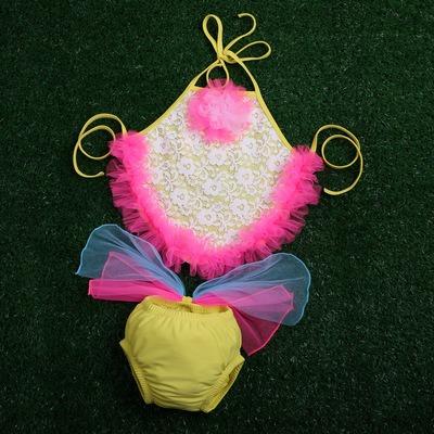 đồ bơi trẻ em áo yếm ren hồng, quần có nơ dbte0004 giá: 120.000 vnđ