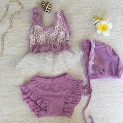 đồ bơi trẻ em bikini tím ba lê cho bé gái dbte0008