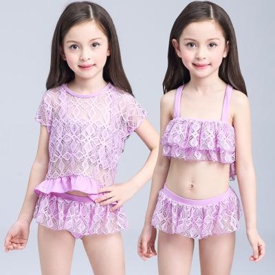 đồ bơi trẻ em bikini tím lứoi