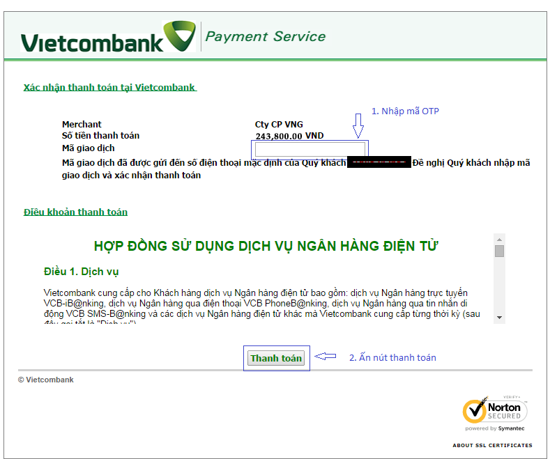 Hình thức thanh toán trực tuyến bằng thẻ ATM